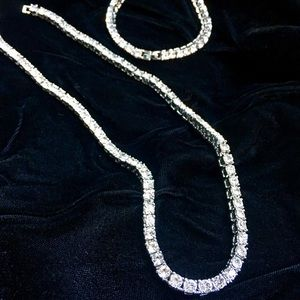 FULL DIAMONDS CZ 18K WHITE GOLD CHAIN BRACELET!